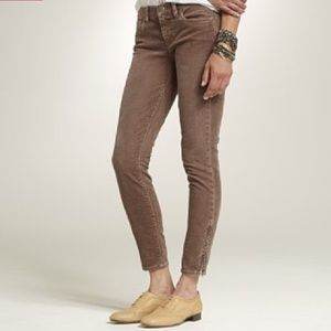 J. Crew Brown Toothpick Cords Skinny Jeans Sz 30